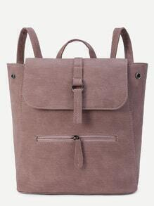 Khaki Faux Leather Front Zipper Flap Backpack