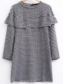 Black And White Houndstooth Ruffle Dress