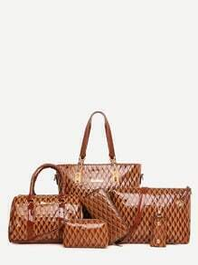Brown Embossed PU 6 Pieces Tote Bag Set