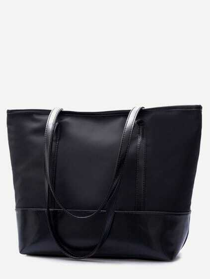 Black PU Trim Nylon Tote Bag