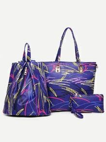Blue Pebbled PU 3 Pieces Tote Bag Set