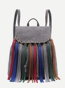 Grey Faux Leather Multicolor Fringe Flap Backpack