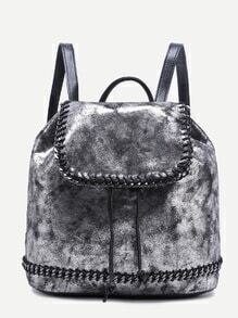 Silver Faux Leather Drawstring Flap Backapck