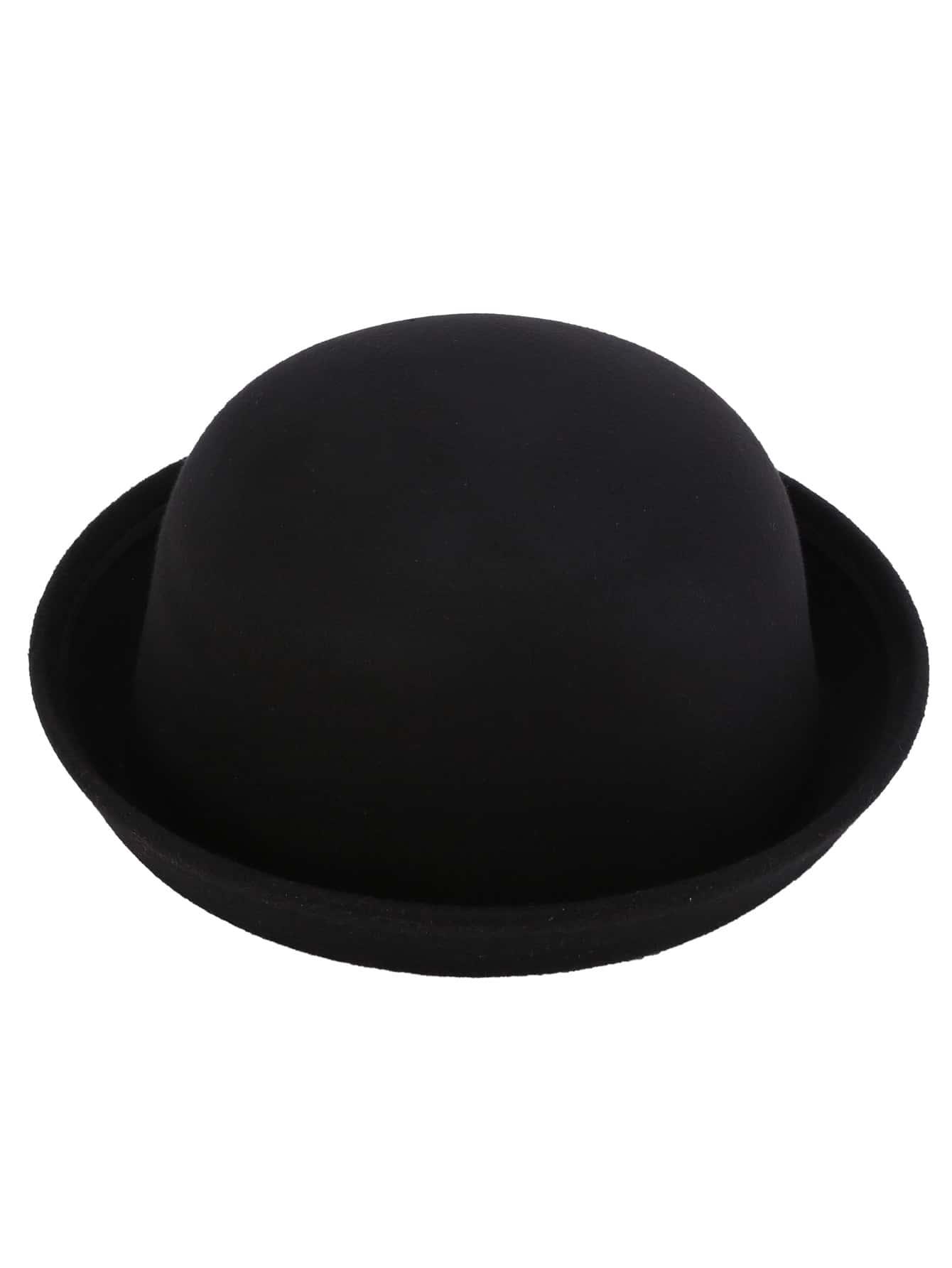 chapeau melon feutr vintage noir french romwe. Black Bedroom Furniture Sets. Home Design Ideas