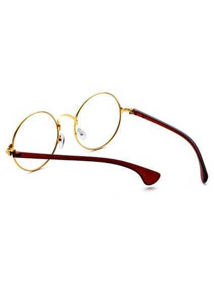 Gold Frame Contrast Arm Round Lens Glasses
