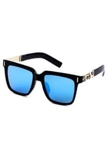 Black Frame Metal Trim Blue Lens Sunglasses