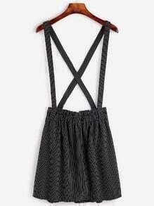 Black Pinstripes Criss Cross Back Suspender Skirt