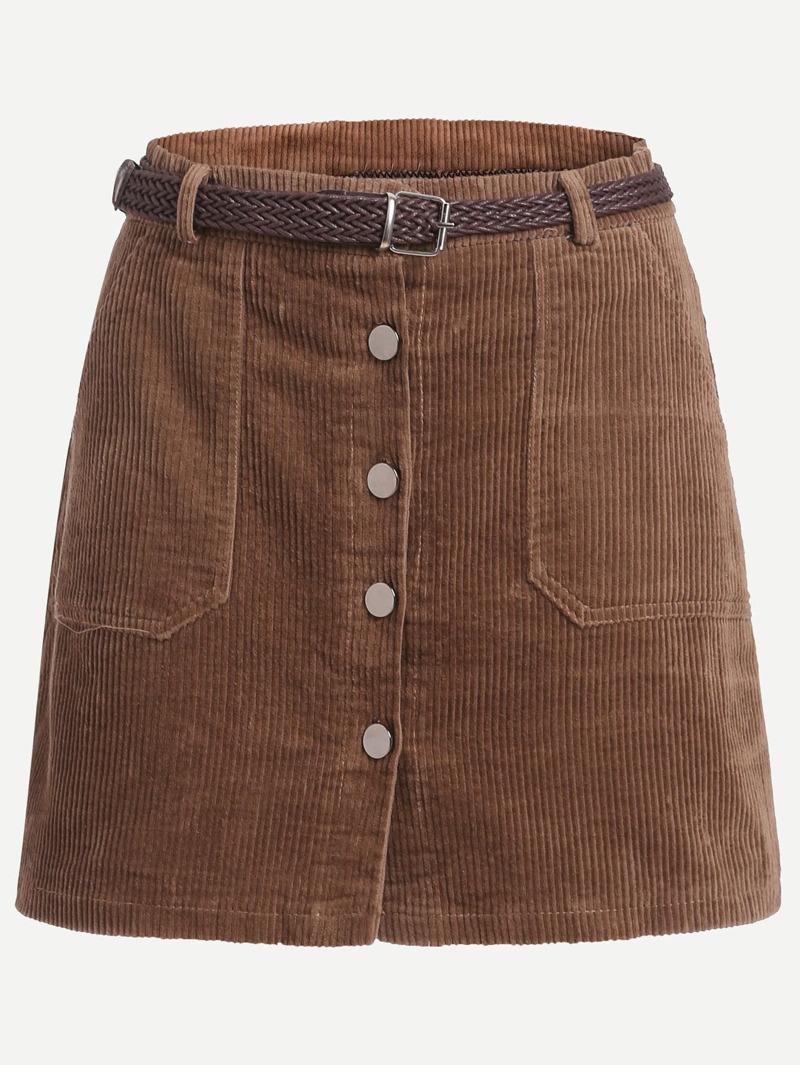 77e34ef61 Falda de pana con una botonadura en línea A con cinturón - café