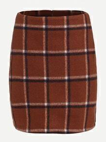 Brown Plaid Bodycon Skirt With Zipper