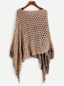 Khaki Eyelet Fringe Hem Asymmetrical Poncho Sweater
