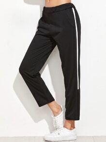 Black Striped Side Elastic Waist Pants