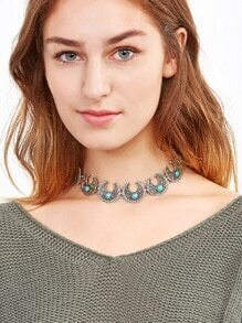 Antique Silver Turquoise Geometric Carved Choker Necklace