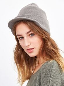 Light Grey Ribbed Foldover Knit Hat
