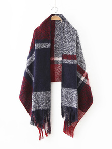 Navy Tone Plaid Long Fringe Shawl Scarf