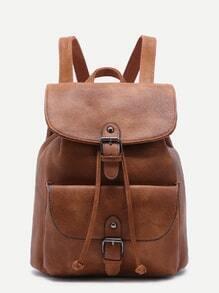 Khaki PU Buckle Strap Drawstring Flap Backpack