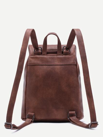 Brown PU Buckle Strap Drawstring Flap Backpack