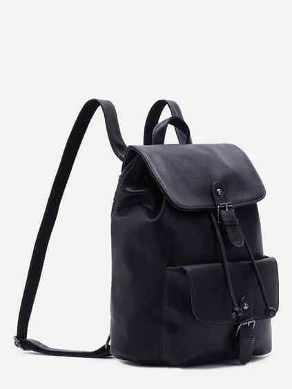 Black PU Buckle Strap Drawstring Flap Backpack