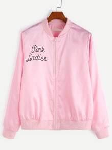 Pink Letter Print Ribbed Trim Jacket