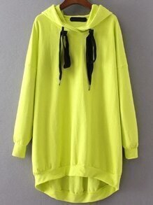 Neon Yellow Drawstring Hooded High Low Sweatshirt Dress