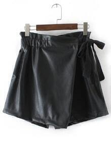Black Wrap PU Shorts With Tie