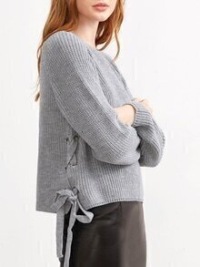 Grey Eyelet Lace Up Side Loose Sweater
