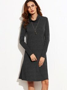 Dark Grey Funnel Neck Long Sleeve Shift Dress