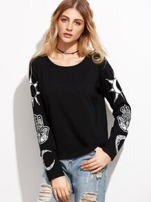 Black Vintage Print Drop Shoulder T-shirt