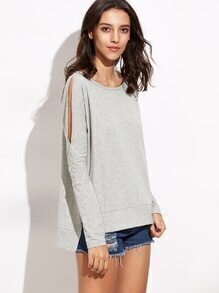 Heather Grey Split Sleeve High Low T-shirt