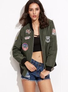 Olive Green Contrast Ribbed Trim Patched Bomber Jacket