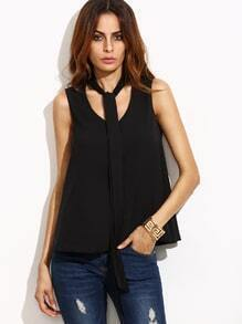 Black Tie Neck Swing Tank Top