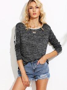 Grey Marled Knit Contrast Binding T-shirt