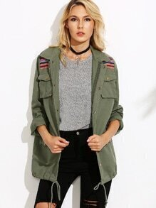 Olive Green Striped Yoke Drawstring Hem Utility Jacket