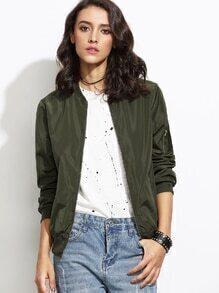 Olive Green Bomber Jacket With Arm Pocket