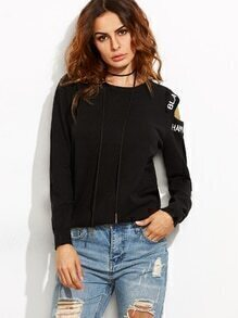 Black Letter Embroidered Asymmetric Open Shoulder Sweater