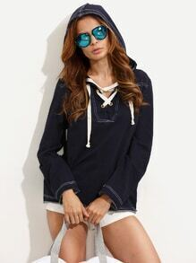 Navy Lace-up Long Sleeve Hooded T-shirt