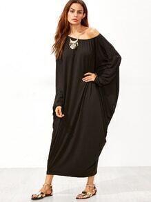 Black Boat Neck Dolman Sleeve Cocoon Maxi Dress
