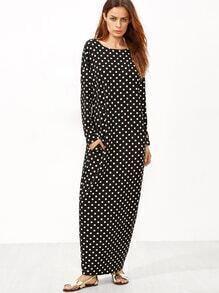 Black Polka Dot Print Cocoon Maxi Dress
