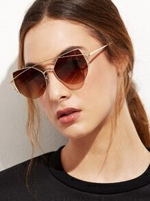 Gold Curved Top Bar Cat Eye Sunglasses