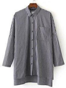 Gingham Plaid Drop Shoulder Slit Side High Low Shirt