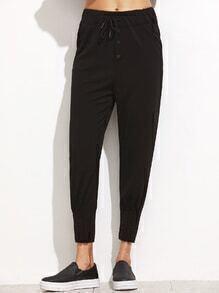 Black Drawstring Tapered Leg Pants