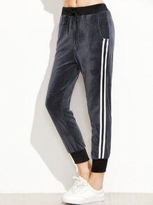 Dark Grey Ribbed Trim Striped Side Velvet Pants