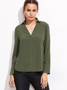 Army Green V Neck Blouse