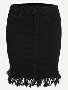 Black Fray Hem Pockets Denim Skirt