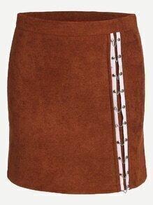 Khaki Contrast Trim Chain Embellished Skirt