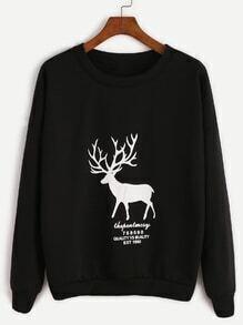 Black Elk Print Dropped Shoulder Seam Sweatshirt
