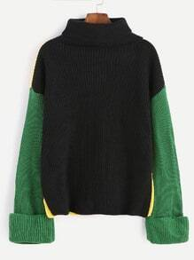 Color Block Turtleneck Dropped Shoulder Seam Sweater