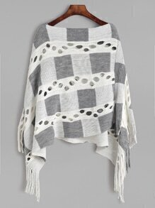 Color Block Hollow Fringe Hem Asymmetrical Poncho Sweater