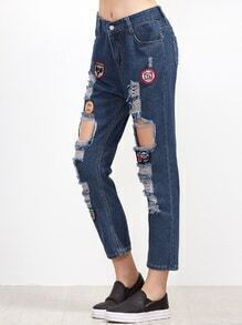 Blue Embroidered Patches Distressed Jeans