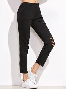 Black Elastic Waist Ripped Pants