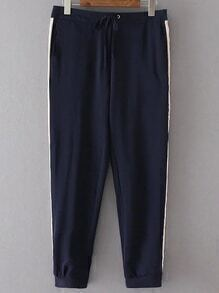 Navy Color Block Drawstring Waist Pants